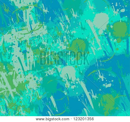 Turquoise and Blue Grunge Paint Splatter Background