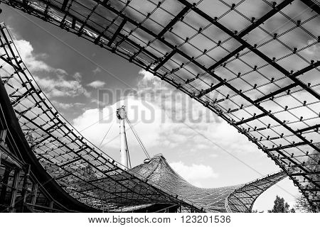 MUNICH GERMANY - SEPTEMBER 14 2012: Detail of the roof of the Olympia stadion constructed in 1972. The lightweight tent construction of the Olympia stadion was considered revolutionary for its time.