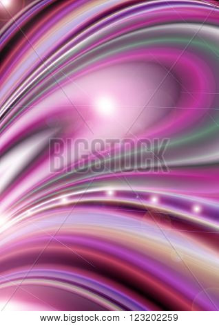 Bright background assembled from colored divergent curves covered glare