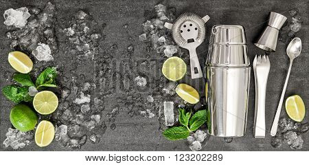 Drink making bar tools and ingredients for cocktail. Mojito caipirinha tequila margarita;