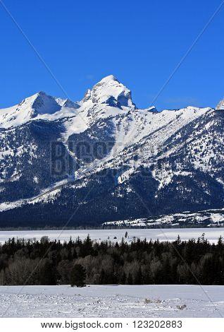 Buck Mountain in the Grand Teton Mountain Range in Grand Teton National Park in Wyoming USA