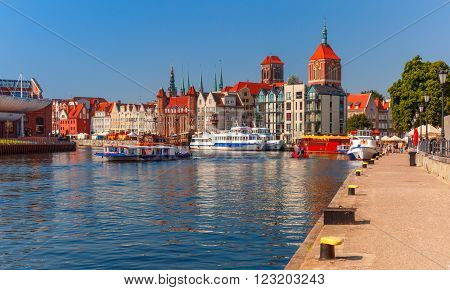 Old Town of Gdansk, Dlugie Pobrzeze and Motlawa River in the morning, Poland