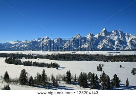 Grand Tetons Mountain Range Peaks on a sunny morning in Grand Teton National Park in Wyoming USA