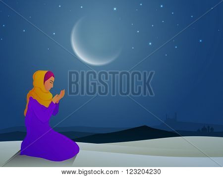 Religious Muslim Woman reading Namaz (Islamic Prayer) in moon light, night background, Concept for Holy Month of Prayers, Ramadan Kareem celebration.