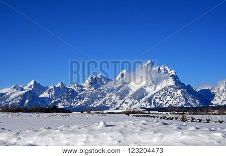 Grand Teton Mountain Range Peaks On A Sunny Morning