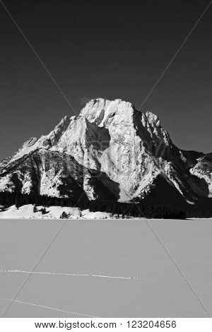 Mount Moran in black and white in the Grand Tetons National Park in Wyoming USA