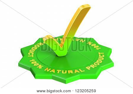 100% natural product 3D rendering isolated on white background