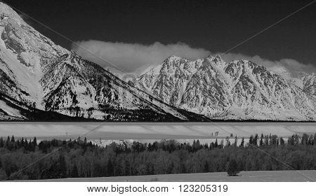 Mount Saint John in the Grand Tetons Mountain Range in Grand Tetons National Park in Wyoming USA - black and white