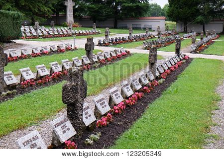 URSBERG, GERMANY - JUNE 09: The graves of members of St. Joseph Congregation on the cemetery in Ursberg, Germany on June 09, 2016.