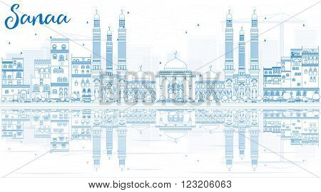 Outline Sanaa (Yemen) Skyline with Blue Buildings and Reflections. Business Travel and Tourism Concept with Historic Buildings. Image for Presentation Banner, Placard and Web.