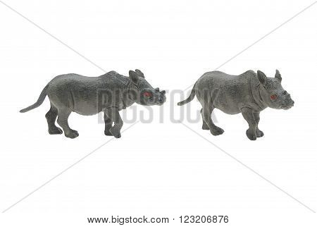Isolated rhinoceros toy photo. Isolated rhinoceros toy side and angle view.