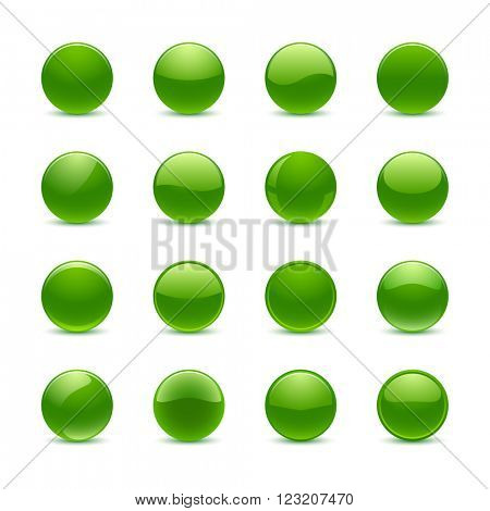 Blank green round buttons for website or app