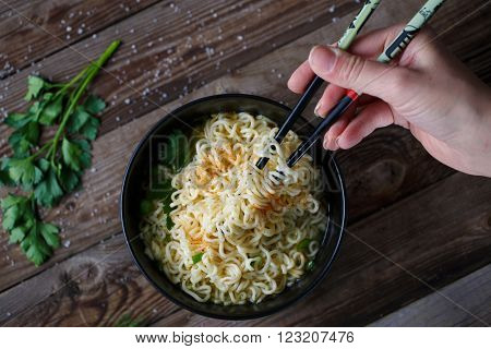 Chinese noodles. Top view.