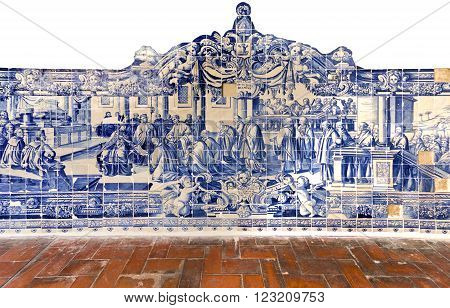 TORRES VEDRAS, PORTUGAL - October 7, 2015: Traditional 18th century Portuguese tiles depicting the Synod of Diamper in Goa India in 1599. On October 26, 2015 in Torres Vedras, Portugal
