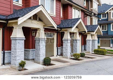 Wall of modern apartment building in Vancouver BC Canada