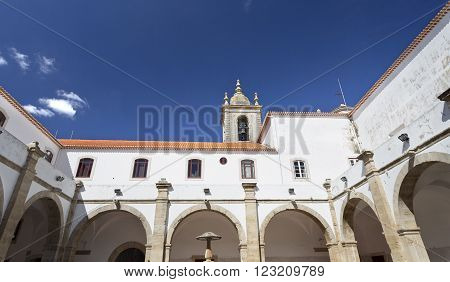 View of the cloisters of the Graca Monastery founded in the 16th century by the friars of the Order of Saint Augustine in Torres Novas Portugal