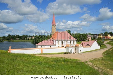 GATCHINA, RUSSIA - JULY 05, 2015: Priory Palace sunny july afternoon. The historic landmark of the city of Gatchina