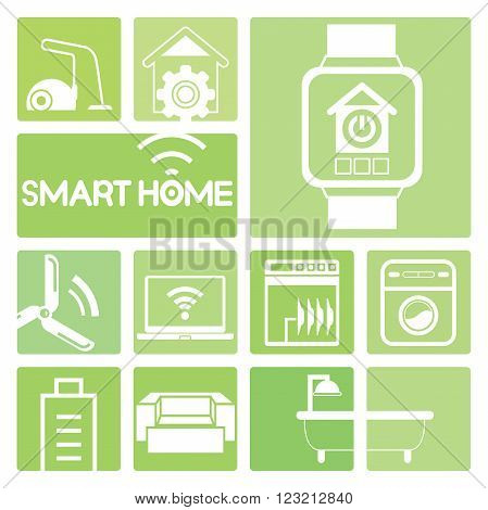 smart home device icons in green; smart watch, turbine, sofa, washing machine