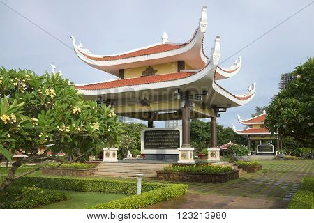 VUNG TAU, VIETNAM - DECEMBER 21, 2015: Pergola in traditional style with citations of Ho Chi Minh. Memorial complex Ho Chi Minh in Vung Tau. The landmark of Vung Tau