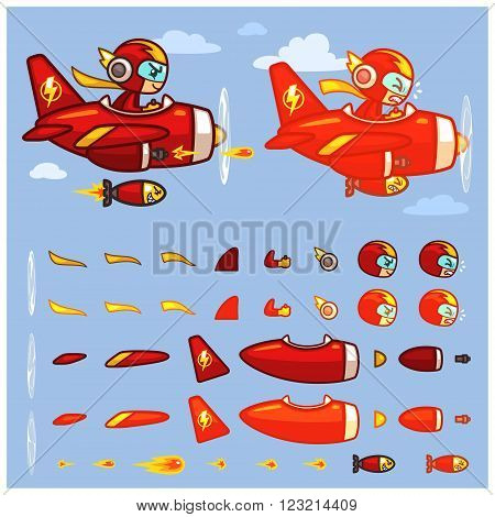 Red Thunder Plane Game Sprites