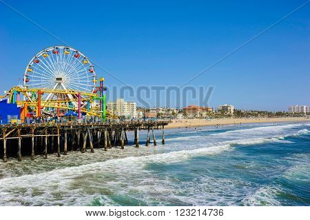 View of the Santa Monica Pier and beach, California