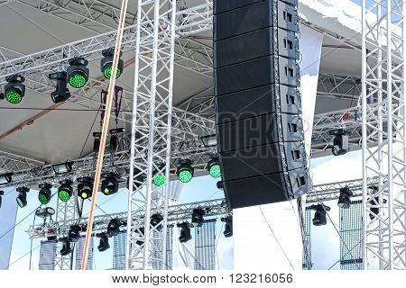 Outdoor Stage With Lighting And Sound Equipment