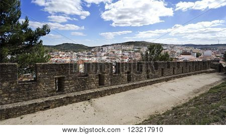 The town of Torres Vedras Portugal seen from inside the battlement of the medieval castle.