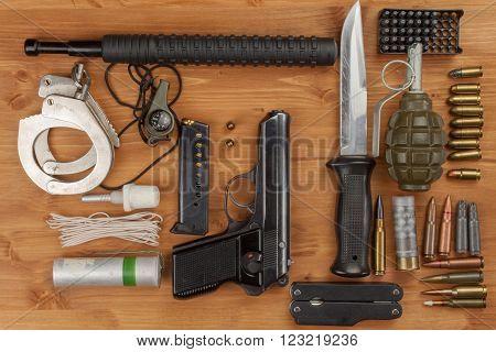 Weapons and Equipment secret agent. Preparing for a secret mission. Equipment terrorists.