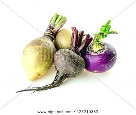Pile Of Taproot Veggies Beetroot, Swedish Turnips And White Turnip