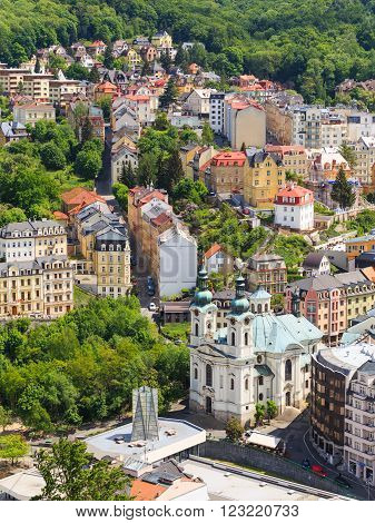 KARLOVY VARY, CZECH REPUBLIC - May,15,2015: street view in Karlovy Vary hotels in Karlovy Vary Carlsbad Czech Republic Europe
