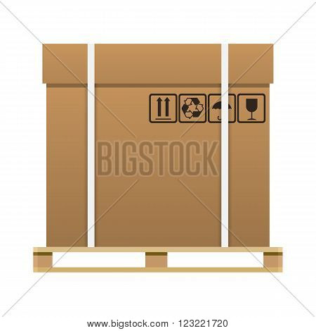 Big brown closed carton delivery box with fragile signs on wooden pallet. vector illustration isolated on white background
