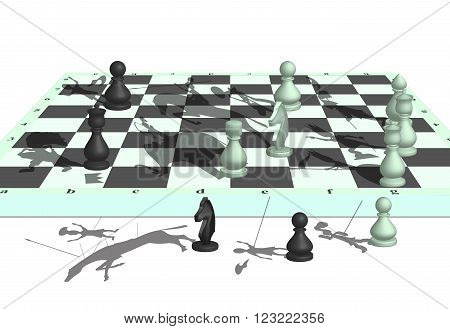 The image of war on a chessboard with participation of chessmen