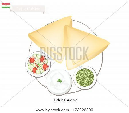 Tajik Cuisine Nahud Sambusa or Fried Triangle Dumpling Made of Dough Stuffed with Chickpeas and Spices. One of The Most Popular Dish of Tajikistan. poster