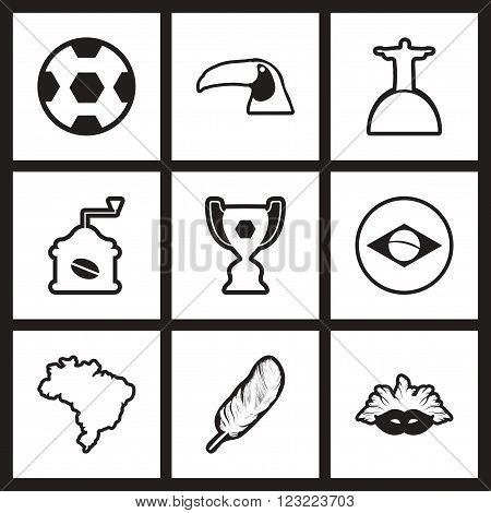 assembly stylish black and white icons Brazil