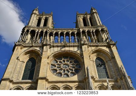 Mantes la Jolie France - august 12 2015 : The medieval Collegiate Church of Our Lady of Mantes is a large and historically important Catholic church constructed between c.1155 and 1350