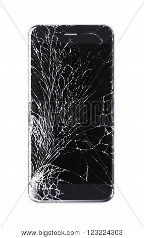 Modern smartphone with broken glass screen isolated on white background. Device needs repair.