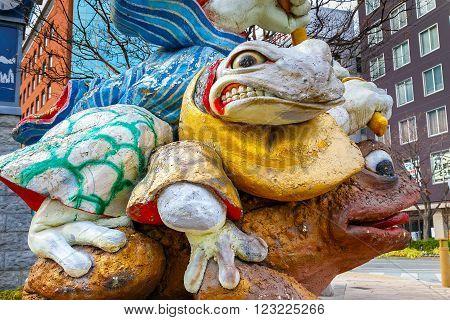 Matsumoto Japan - November 21 2015: Samurai Frogs statue at Nawate Dori Street in Matsumoto City located near Matsumoto castle it's one of Matsumoto tourist attractions