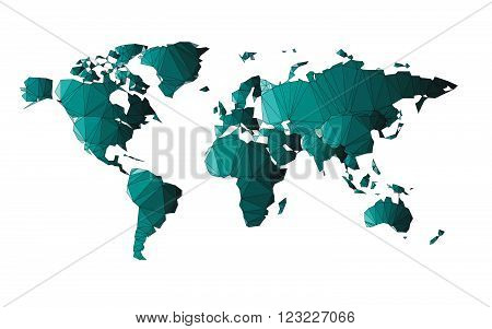 Low poly of world map with structure line isolated on white background