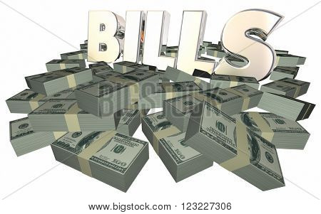 Bills Paying Invoice Money Owed Payment Cash Piles Stacks 3D
