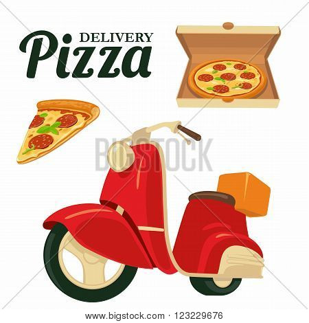 Delivering pizza on a red moped Pizza. Isolated vector illustration on white background. For web icon banner poster menus brochure presentation.
