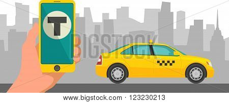 Phone with interface taxi on a screen on a background taxi in the city. Mobile app for booking taxi service. Flat vector illustration for business infographic banner presentations.