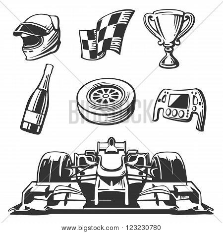 Car race icons set Formula 1 . Helmet wheel tire speedometer cup and flag Vector flat illustration isolated on white background.