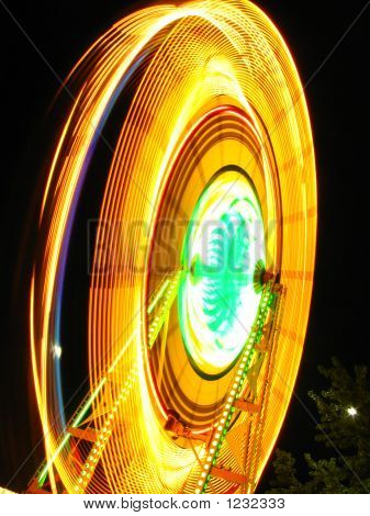 blurred ferris wheel at night at a county fair poster
