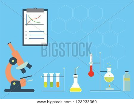 Chemistry lab with microscope, test tubes, and experimental staff