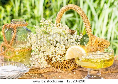 elderflower syrup with, sugar, brandy and lemon
