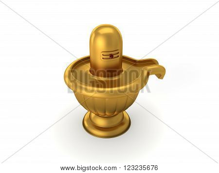 Hindu God Siva Linga Isolated on White - 3D Rendering