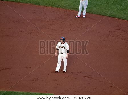 Giants Freddy Sanchez Standing As He Takes Lead From Second Base