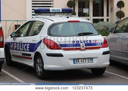 Menton France - March 20 2016: French Police (Police Nationale) Car Peugeot 308 Parked in a Parking Lot in Front of the Police Station in Menton