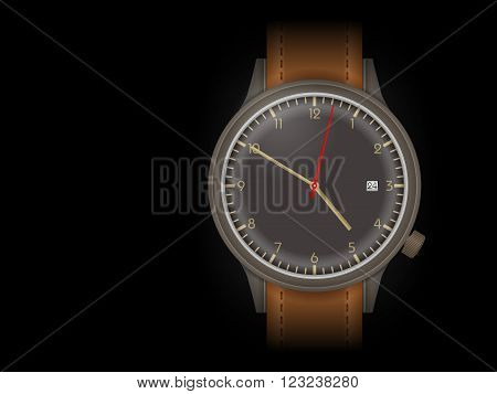 Wristwatch on a black background Vector illustration.