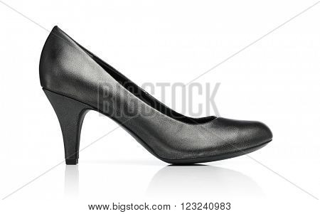 Ladies dark grey pump shoe isolated on white with reflection.